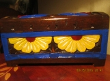 Hand Carved & Hand Painted Wooden Jewelry Box WOW!