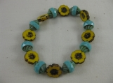 Yellow Flower and Turquoise Bead Bracelet