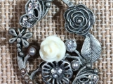 Antique silver,flower pendant,flower jewelry,hand beaded,crystal beads,vintage inspired,handmade,crystal necklace,butterfly,