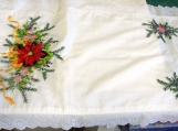 Embroidered Poinsettia Holiday Table Runner Dresser Scarf Eyelet Lace Trim