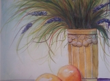 Fruit, Vase and Flowers, Original, Painting, Watercolor, Signed