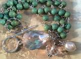 Green turquoise bracelet,mulit-strand,beaded,bracelet,silver,hand beaded,drop crystal