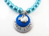 Hand stamped blue teacher bracelet ( med )