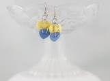 Blue heart yellow sun moon funky dangling button earrrings