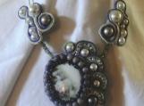 Choker, Souttache, Necklace, Purple Roses Porcelain Cameo Pearls