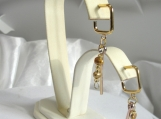 Earrings, Hoop,  Pierced, Petite,  Woman, Young Lady Misses Yellow GoldTone Bar and Beads Square Lightweight
