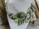 Jadeite, Stone, Souttache, Necklace, Pearls, Beads Leather