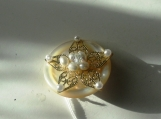 Jewelry, Brooch, Pin, Star, Flower, White Mother of Pearl, Button, Biwa Pearls Vintage Crystal Goldtone