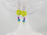 Neon green purple teal funky dangling button earrings teens