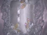 RingBearers Pillow, Satin, Bridal Bag, Lace, Sequin Leaves,