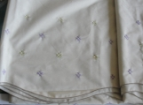 Tablecloth,  Cross Stitch,  Embroidered, Lavender, Mint Green, Easy Care Oblong, 59 90 inches New
