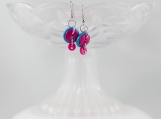 Fusia hot pink teal turquoise color funky drop button earrings