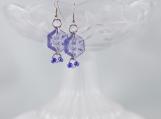 Vintage purple hexagon drop button earrings