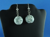 White Coin Glass Green Speck Silver Foil Pierce Earring