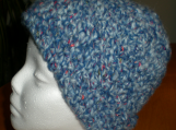 Hat,  Blue with multicolor flecks, hand-crocheted