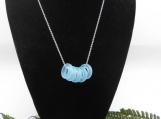 Beach Glass Necklace, Aqua Blue Beach Glass Ring Necklace