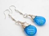 Blue Glass Tropical Rain Drop Dangle Earrings