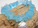 Blue Sea Glass Bracelet with Sterling Silver Sand Dollar Charm