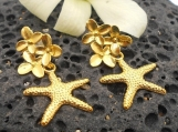 Gold Post Earrings, Gold Starfish and Flower Earrings