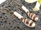 Puka Shell and Cowrie Shell Earrings
