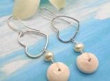 Puka Shell Earrings, Heart Earrings, Dangle Earrings,