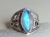 rainbow moonstone ring, 92.5% solid sterling silver ring