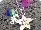Seas The Day Starfish Necklace with Beach Glass