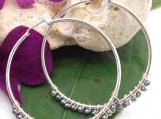 Silver Hoop Earrings, Wire Wrapped Tiny Black Pearl Hoop