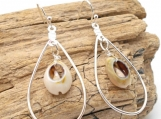 Silver Tear Drop Dangle Earrings with Cowrie Shells