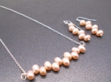 Stacked Pink Pearl Necklace and Earring Set
