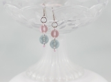 Vintage pink blue dangling button earrings Christmas gift girls