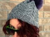 Chunky Cable Knit Faux Fur Pom Pom Hat - Slouchy Beanie - Boho - Boho hat - Unisex