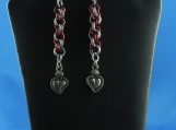 Red and Silver Jump Ring  Pierce Earring , Pewter Heart