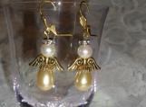 Angel earrings with gold wings, pearls, rondelles, leverback