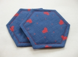 Blue and Red Hearts Valentine,s Decorative Coasters