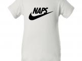"""Naps Logo"" White Creeper Baby Onesie"