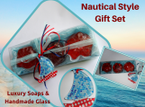 Nautical Style Gift Set with Luxury Soaps- Glass Decorative Boat