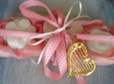 Pink Valentine Gift Set for Women, Luxury Soaps & Heart Necklace