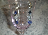 Silver and  sapphire AB earrings with bicones, silver spacers