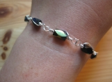Silver plated wire and rectangular beaded bracelet