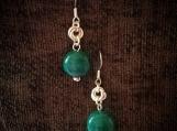 Beaded Drop Earrings Green Droplets