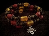 Memory Wire Beaded Bracelet Fall Leaves