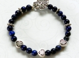 Blue Lapis Lazuli Stone Bracelet, Celtic Hearts, Beaded Bracelet