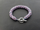 Hand beaded glass pearl and seed bead bracelet