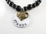 Hand stamped gramma black bracelet ( med )