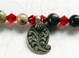 Jasper Bead Bracelet, Fleur De Lis Charm, Red Swarovski Crystals