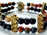 Jasper Stone Bracelet, 2 Row Bracelet, Unisex, Black Glass Beads