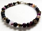 Jewelry Bracelet Purple Jasper Stones Floral Copper Spacers