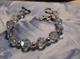 Light sapphire crystal Rosary Bracelet with cross charm