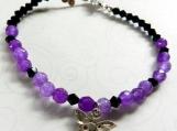 Purple & Black Crystal Stones, Aurora Borealis Butterfly Charm
